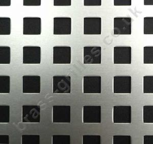 Chartham Square Hole 8mm Silver Grille Anodised Aluminium Sheet 1000mm x 660mm x 1mm